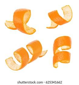 Set of curl orange peel isolated on white background