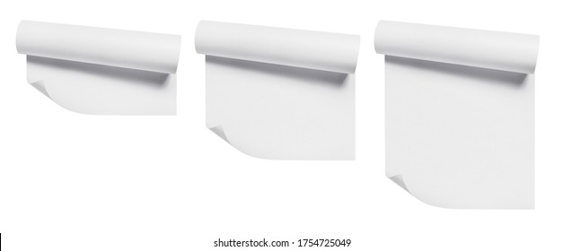 Set of curled blank paper sheets, isolated on white background