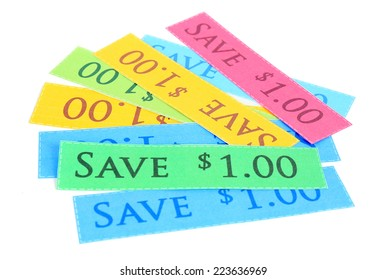 Set of cut coupons for shopping to save money, isolated on white