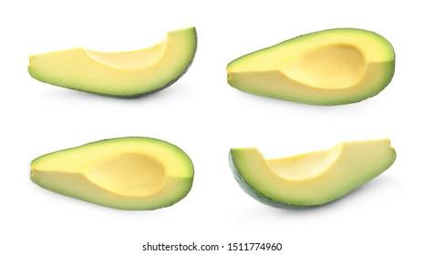 Set of cut fresh ripe avocados on white background