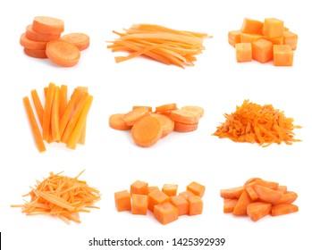Set of cut fresh ripe carrots on white background
