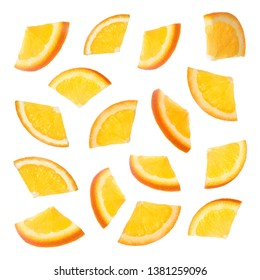 Set of cut ripe juicy oranges on white background