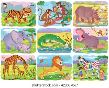 Set of cute African animals. Tiger, monkeys, rhinoceros, elephant, crocodile, hippo, giraffe, lion and zebra. Illustration for children. Coloring page. Funny cartoon characters.