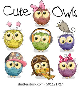 Owl cartoon stock images royalty free images vectors shutterstock set of cute cartoon owls on a white background voltagebd Images