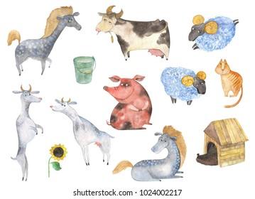 Set of cute farm animals. Watercolor