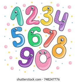 Set of cute and funny colorful smiling number characters from 0 to 9. Cartoon illustration on white background for children.