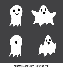 Set of cute ghosts isolated on grey background