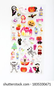 set of cute halloween stickers