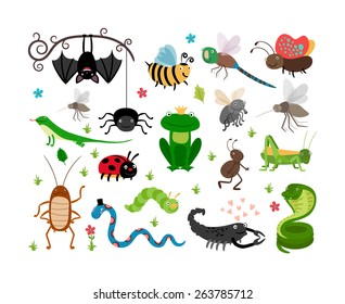 Set of cute insects and reptiles. Bee and grasshopper, lizard and snake, frog and cockroach