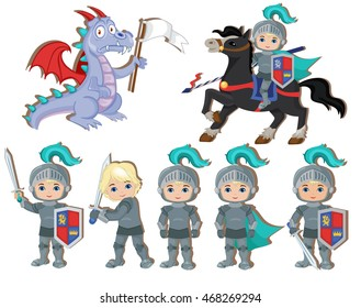 Set of cute little knights and a dragon with a flag. Raster copy.