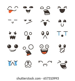 Set of cute lovely kawaii emoticon. Doodle cartoon face in childlike manga cartoon style.
