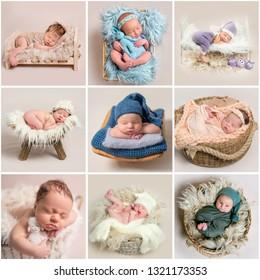 Set of cute newborn sleeping babies
