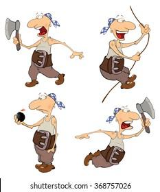 Set of cute pirates for you design. Cartoon