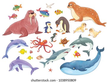 Set of cute sea animals. Ocean. Coloring book. Coloring page. Illustration for children. Funny cartoon characters