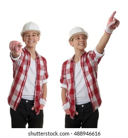 Set of cute teenager boy in red checkered shirt and building helmet pointing forward over white isolated background, half body, constructing concept
