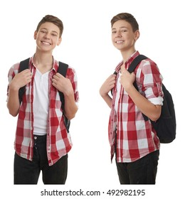 Set of cute teenager boy in red checkered shirt with school bag over white isolated background, half body, as school, education concept