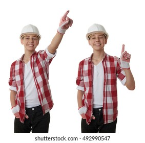 Set of cute teenager boy in red checkered shirt and building helmet pointing up side over white isolated background, half body, constructing concept