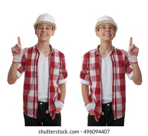 Set of cute teenager boy in red checkered shirt and building helmet pointing up over white isolated background, half body, constructing concept