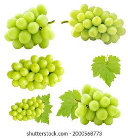 Set of cutout beautiful bunch of fresh green Shine Muscat grape and leaf isolated on white background