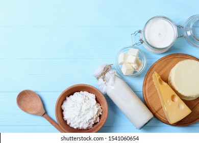 set of dairy products on the table top view.