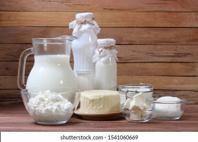 set of dairy products on the table.