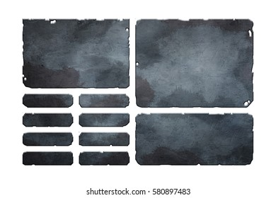 Set of damaged, rusted metal user interface elements, buttons and panels