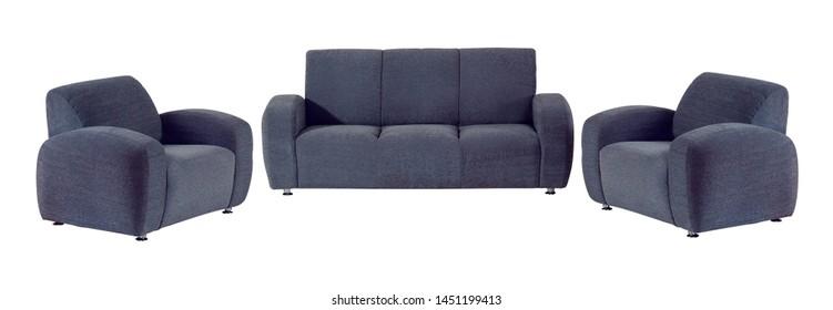 Set of dark blue sofa isolated on white background.