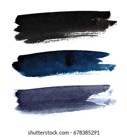 Set of dark brush strokes isolated on the white background