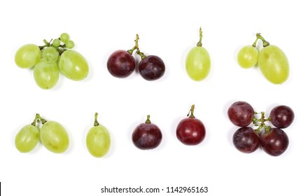 Set dark grapes, isolated on white background, top view