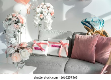 Set of decor and attributes for the celebration of a bachelorette party of a bride.