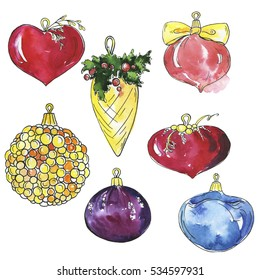 Set of decorative christmas balls. Cartoon watercolor and ink sketch. Hand drawn illustration.