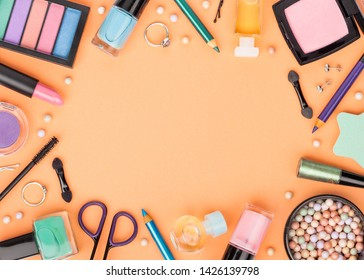 set of decorative cosmetics, makeup tools and accessory on white background with copy space for your text. beauty, fashion, party and shopping concept. flat lay frame composition, top view