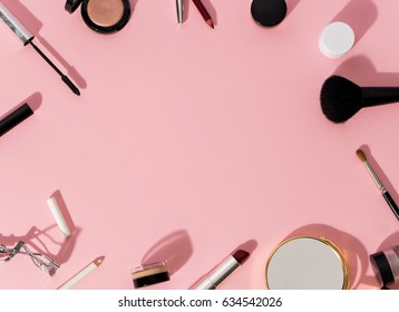 set of decorative cosmetics on color background. space for text - Shutterstock ID 634542026