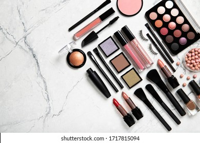 Set of decorative cosmetics. Top view, place for text.