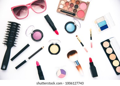 Set of decorative cosmetics for women on white background