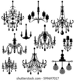 Set of Decorative elegant luxury vintage crystal chandelier icons, black silhouette luster isolated on white. Raster version