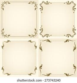 Set of decorative floral vintage frame for design. Raster version.
