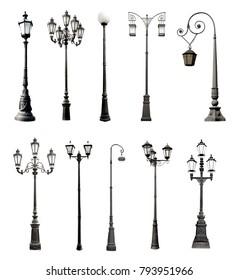 Set of decorative lampposts