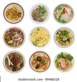 set of decorative noodle soups