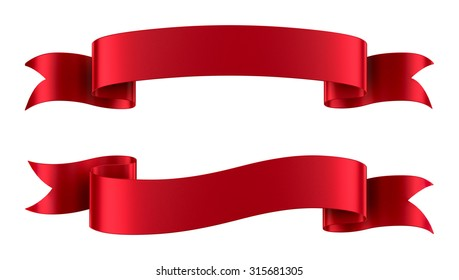 Set of decorative red ribbon banners isolated on white