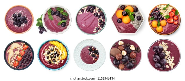 Set with delicious acai smoothie on white background, top view