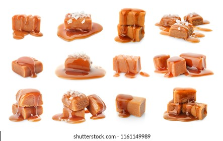 Set with delicious caramel candies and sauce on white background