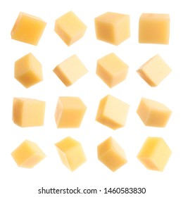 Set of delicious cheese cubes on white background