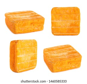 Set of delicious cheese on white background