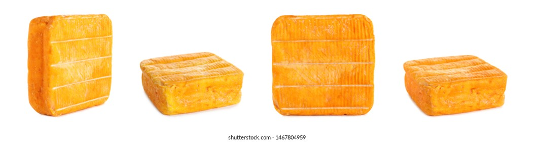 Set of delicious cheese on white background. Banner design