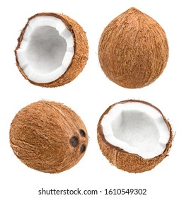 Set of delicious coconuts, isolated on white background
