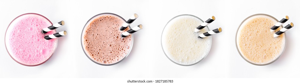 Set of delicious Milk Shakes or Smoothies isolated on white background. Various protein shakes,  strawberry, chocolate, vanilla, caramel energy drinks, top view.