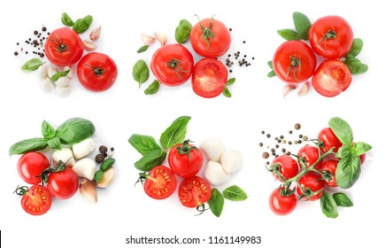 Set with delicious ripe tomatoes on white background