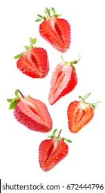 Set of delicious strawberry slices on white background