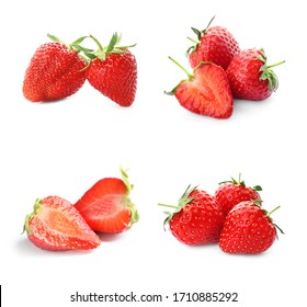 Set with delicious sweet strawberries on white background